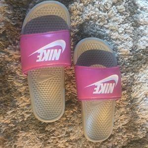 Pink Nike slides. Women's size 11